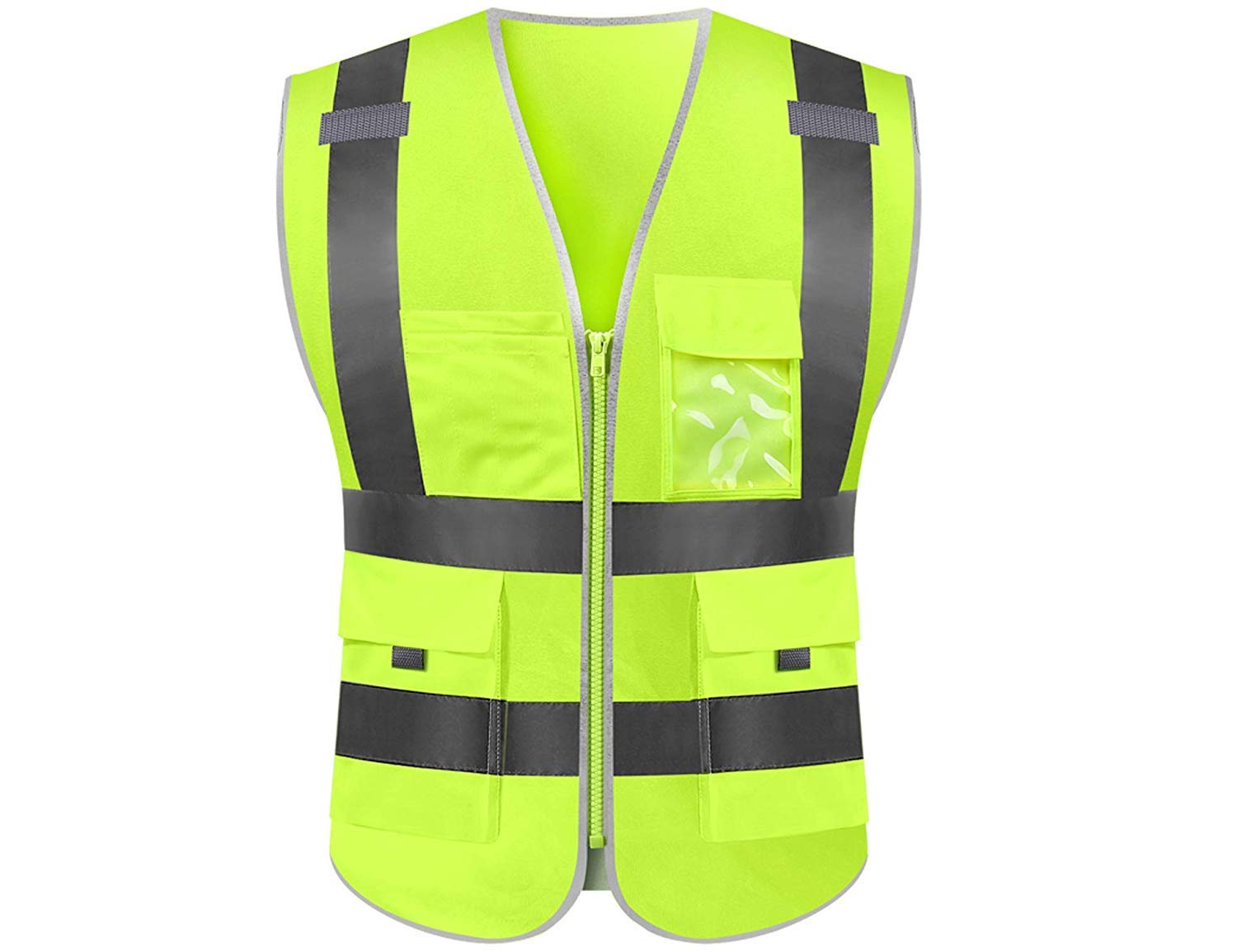 Reflective safety vest high visibility reflective tape with pockets and front zipper class 2