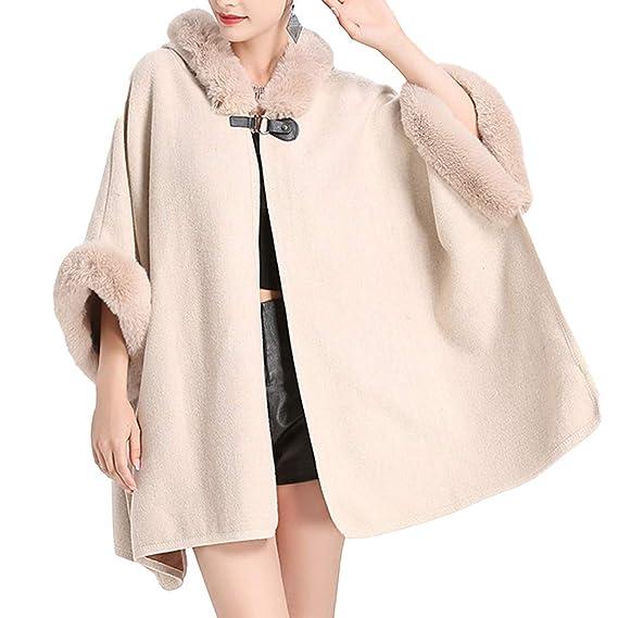 65c6eeeb5a24a HANMAX Cape d hiver Femme avec Capuche en Fourrure Fausse Manteau de Laine  Manches Longue