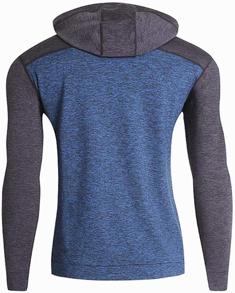 Cromoncent Men Fleece Fitness Loose Contrast Color Pullover Hooded Sweatshirts