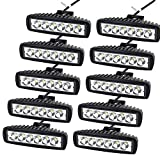 "AUXTINGS 10 Pcs 6"" Inch 18W Spot LED Work Light Bar Off Road Car Driving Lamp for Jeep Cabin/Boat/SUV/Truck/Car/ATV/Vehicles/automative/jeep/Marin (18W,6000K)"