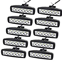 """AUXTINGS 10 Pcs 6"""" Inch 18W Spot LED Work Light Bar Off Road Car Driving Lamp for Jeep Cabin/Boat/SUV/Truck/Car/ATV/Vehicles/automative/jeep/Marin (18W,6000K)"""