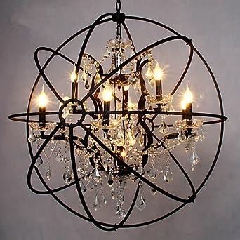 Cristal Lumières De 6 Suspension Plafond Globe Bougie Lustre Antique QxBWredCo