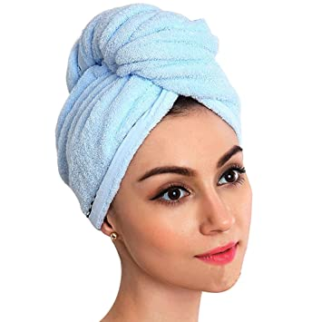 2x Kopfhandtuch Frottee Schnell Trocknend Haar Turban Kopftuch Haartrockentuch