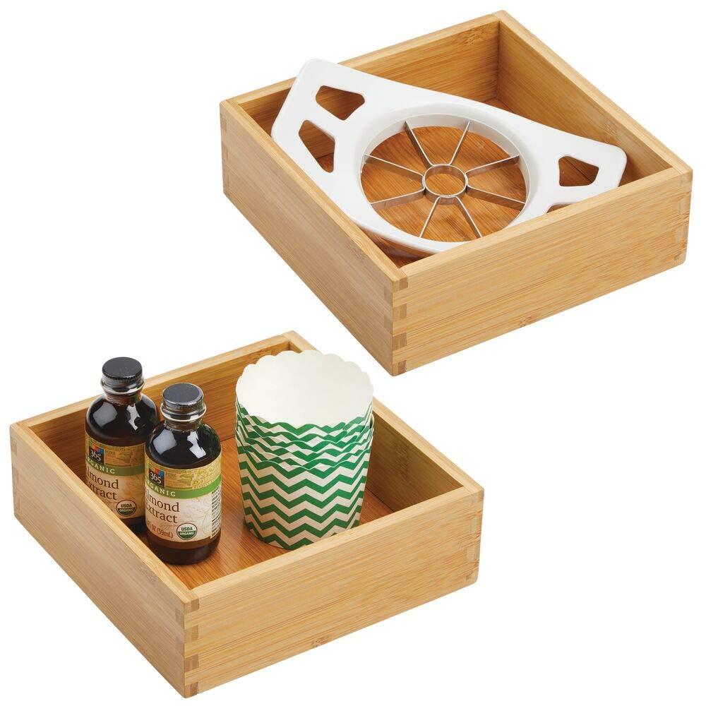 mDesign Rangement à tiroir en Bambou pour la Cuisine (Lot de 2) – Range Couverts modulable pour l'argenterie, la Vaisselle, etc. – bac de Rangement – Brun Clair