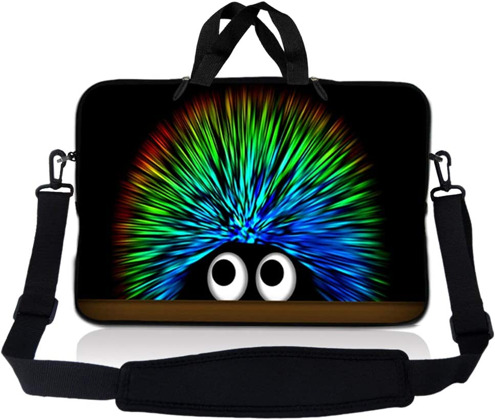 Laptop Skin Shop 8-10.2 inch Neoprene Laptop Sleeve Bag Carrying Case with Handle and Adjustable Shoulder Strap - Hedgehog