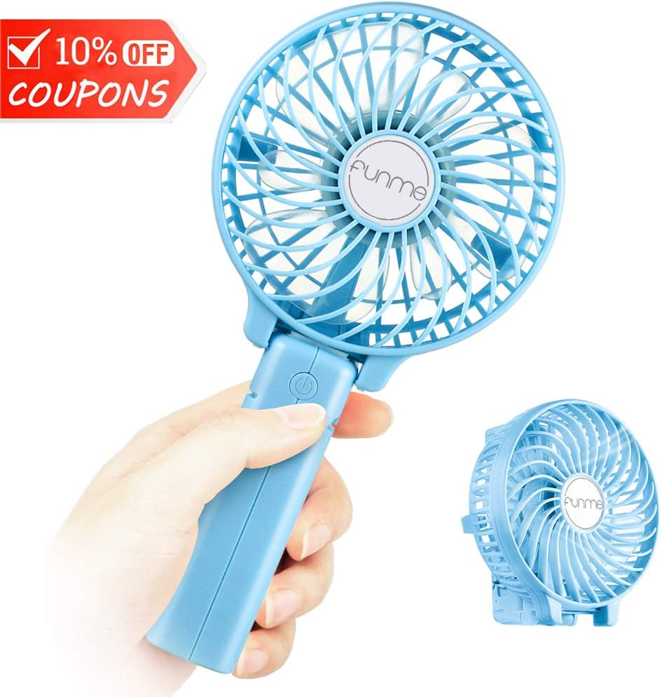 Funme Mini Handheld Fan, USB Desk Fan, Small Personal Portable Table Fan with USB Rechargeable Battery Operated Cooling Folding Electric Fan for Travel Office Room Household Blue