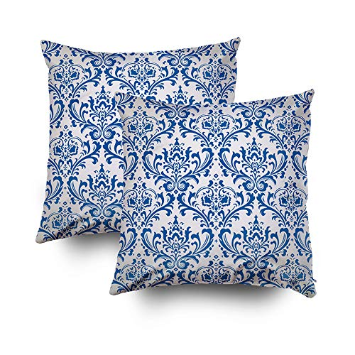 GROOTEY Case Pillow, Square Pillow Covers with Zip Couch Sofa Décor Vintage Damask Brocade Wallpaper Background Tile 20X20 Set of 2 Throw ()