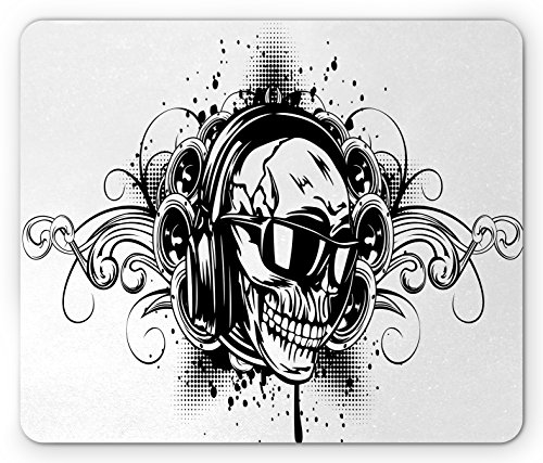 Tattoo Mouse Pad by Lunarable, DJ Skull with Headphones Artisan Style Punk Rock Heavy Music Never Dies Art Print, Standard Size Rectangle Non-Slip Rubber Mousepad, White Black (Punk Rock Mouse Pad)