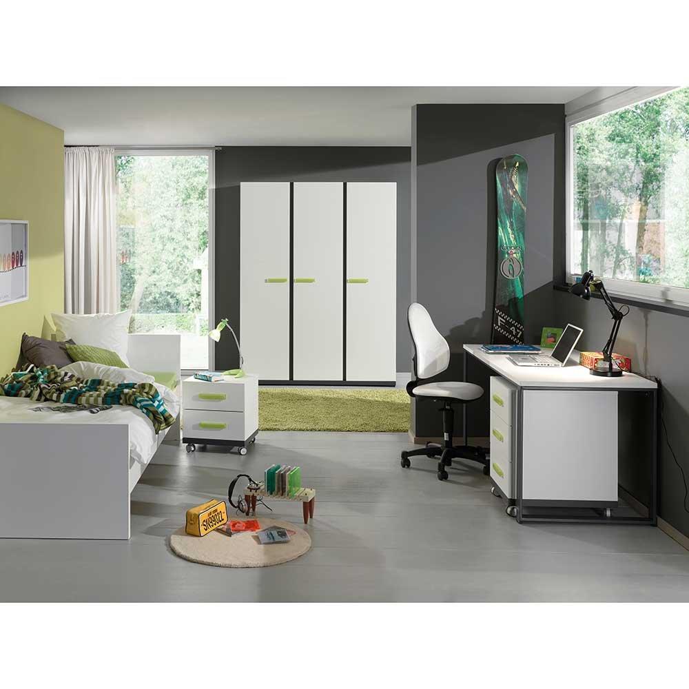 Kinderzimmermöbel set  Kinderzimmermöbel Set mit Schreibtisch Weiß Anthrazit (5-teilig ...