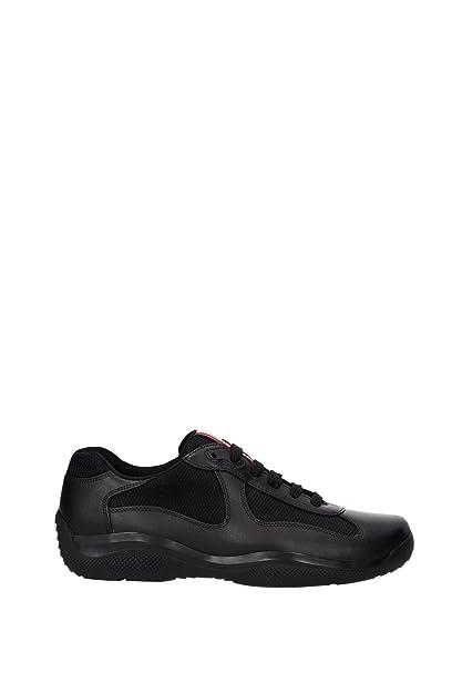 8b3f6aa6799ce Amazon.com | Prada Leather America's Cup Mesh Black Trainers ...