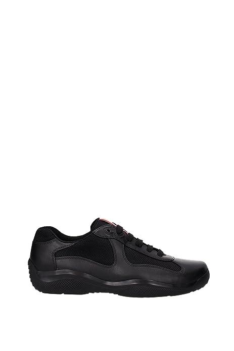 Prada scarpe sneakers uomo in pelle nuove nevada bike nero  Amazon.it  Scarpe  e borse 82b7ebcc07b