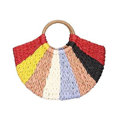 Amazon.com: Colorflu - Bolso para mujer, tejido a mano, de ...