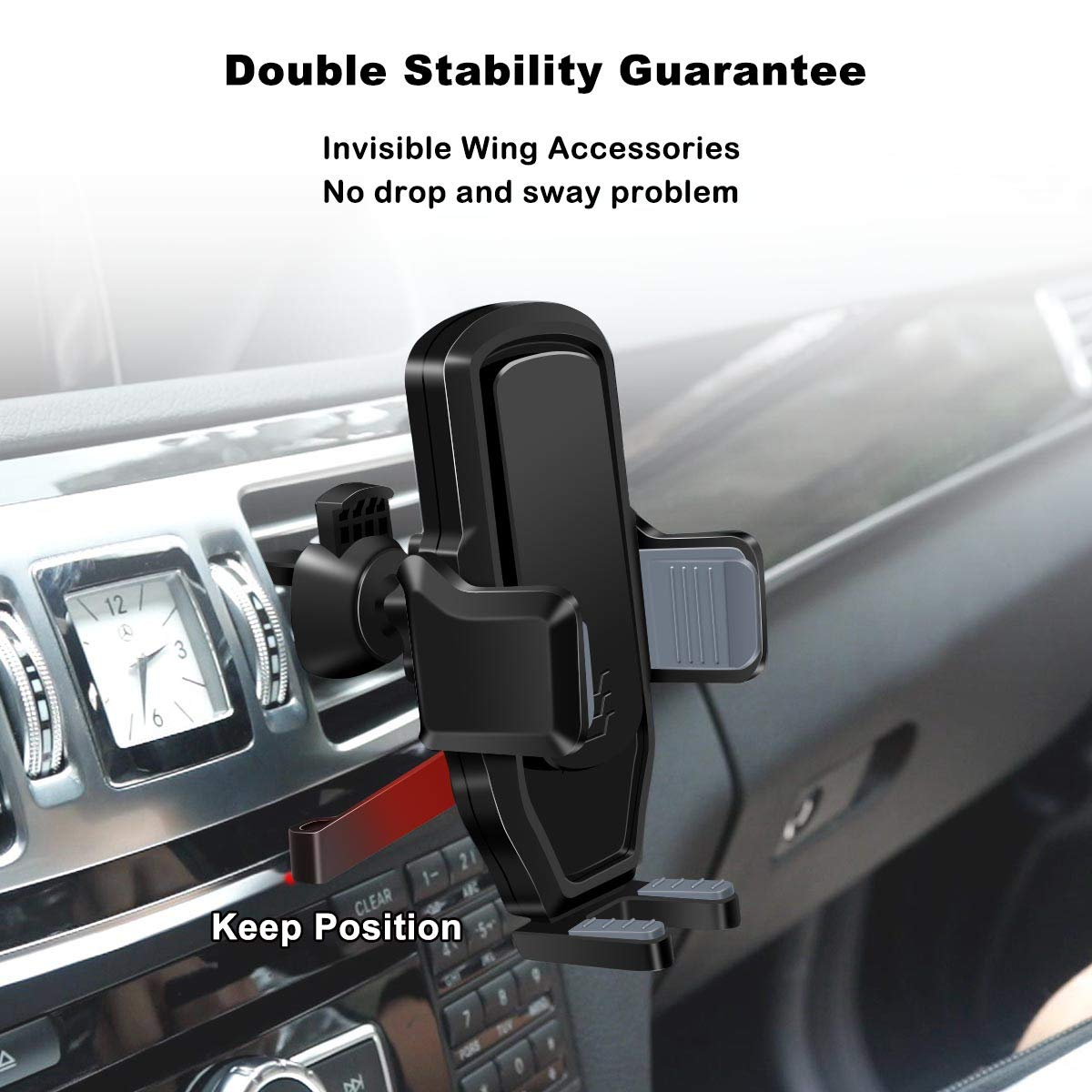 Easy One-Hand Operating Car Phone Holder,Automatic Locking System Universal Car Phone Mount,Gravity Automatic Cell Phone Car Holder Apply for 3-6 inch Screen Smartphone//Other Devices-Black Zeuste 4350465769