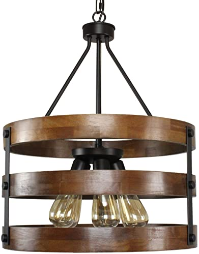 PUZHI HOME Farmhouse Chandeliers Rustic 5 Lights Kitchen Island Pendant Lighting Fixture Circular Wood Chandeliers Industrial Metal Retro Pendant Light