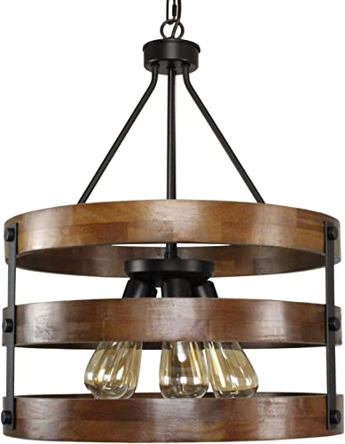 PUZHI HOME Farmhouse Chandeliers Rustic 5 Lights Kitchen Island Pendant Lighting Fixture Circular Wood Chandeliers Industrial Metal Retro Pendant Lights