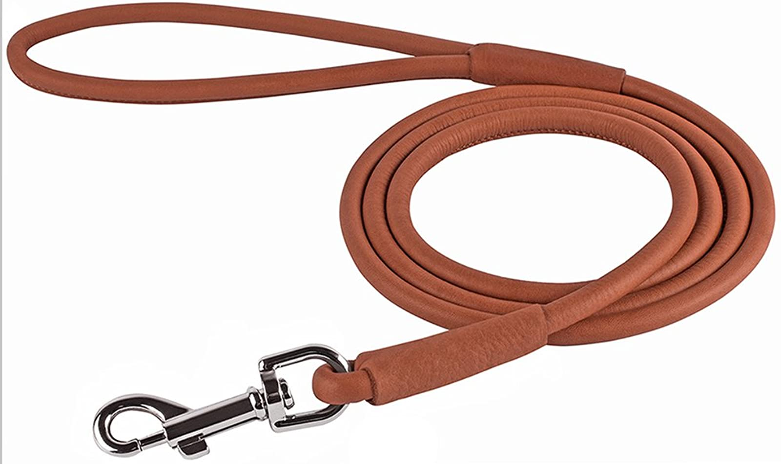 CollarDirect Rolled Leather Dog Leash 4ft Soft - 3