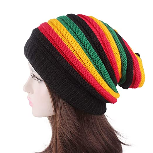 06f2e73a3 Eliffete Unisex 2018 Fashion Rainbow Crochet Beanie Baggy Knitted Hat Skull  Caps