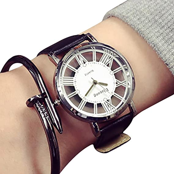 leedford mujeres relojes de cuarzo analógico señoras relojes mujer relojes piel banda muñeca relojes unique Hollow