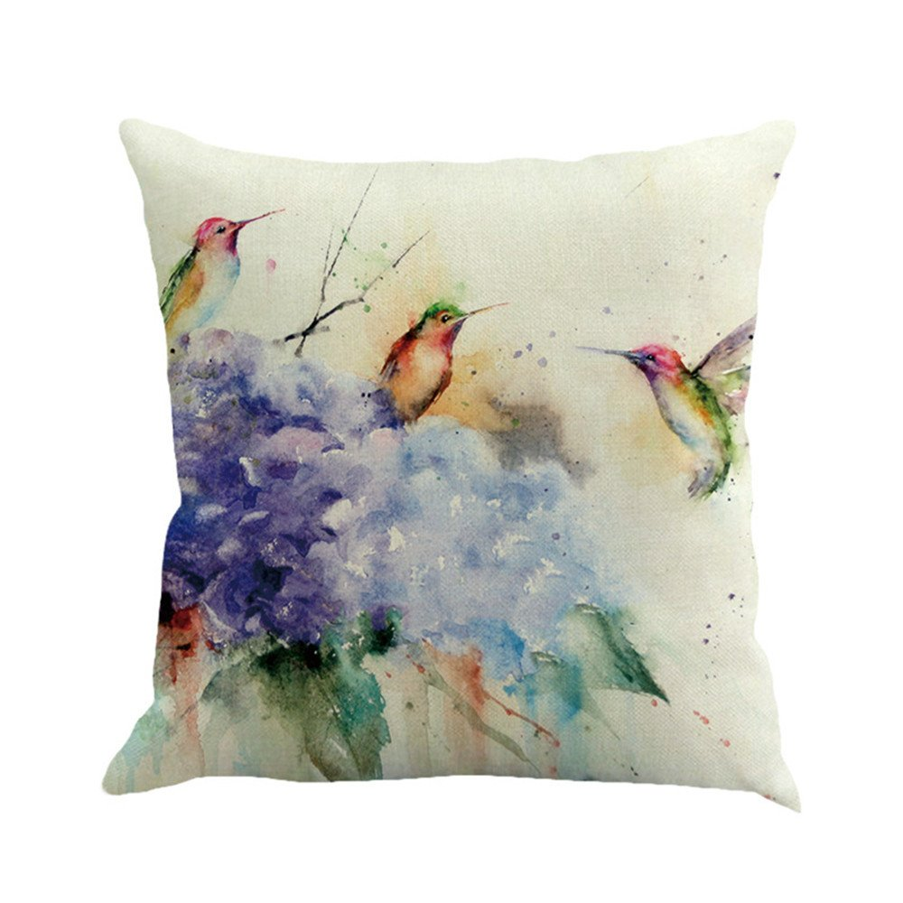 RFVBNM Set of 2 Throw Pillow Covers Painted Branches bird Cushions Linen Home Decorative Soft Pillow Case Covers for Chair Car Bay Window No Pillow Insert Outdoor Indoor Home Decor,D/4545cm
