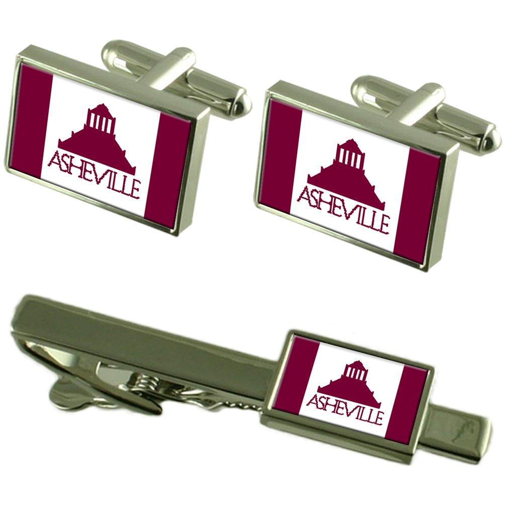 Asheville City USA Flag Cufflinks Tie Clip Box Gift Set