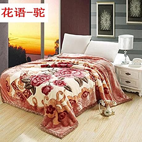 Znzbzt Blanket Thick Double Spring And Summer And Winter Wedding Celebration Red Fleece Blanket Blanket Blanket Student 200x230cm8 Catty Fancy Flowers And