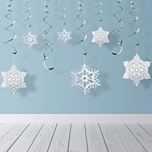 Quimoy Christmas Snowflake Hanging Swirl, 30Pcs Christmas Party Decorations, Glittery Silver Ceiling Swirls Dangling Decor for Xmas Holiday Home New Year Winter Wonderland Party Supplies