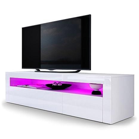 Kofkever Mobile Porta TV Giglio Frontali Bianco Lucido: Amazon.it ...