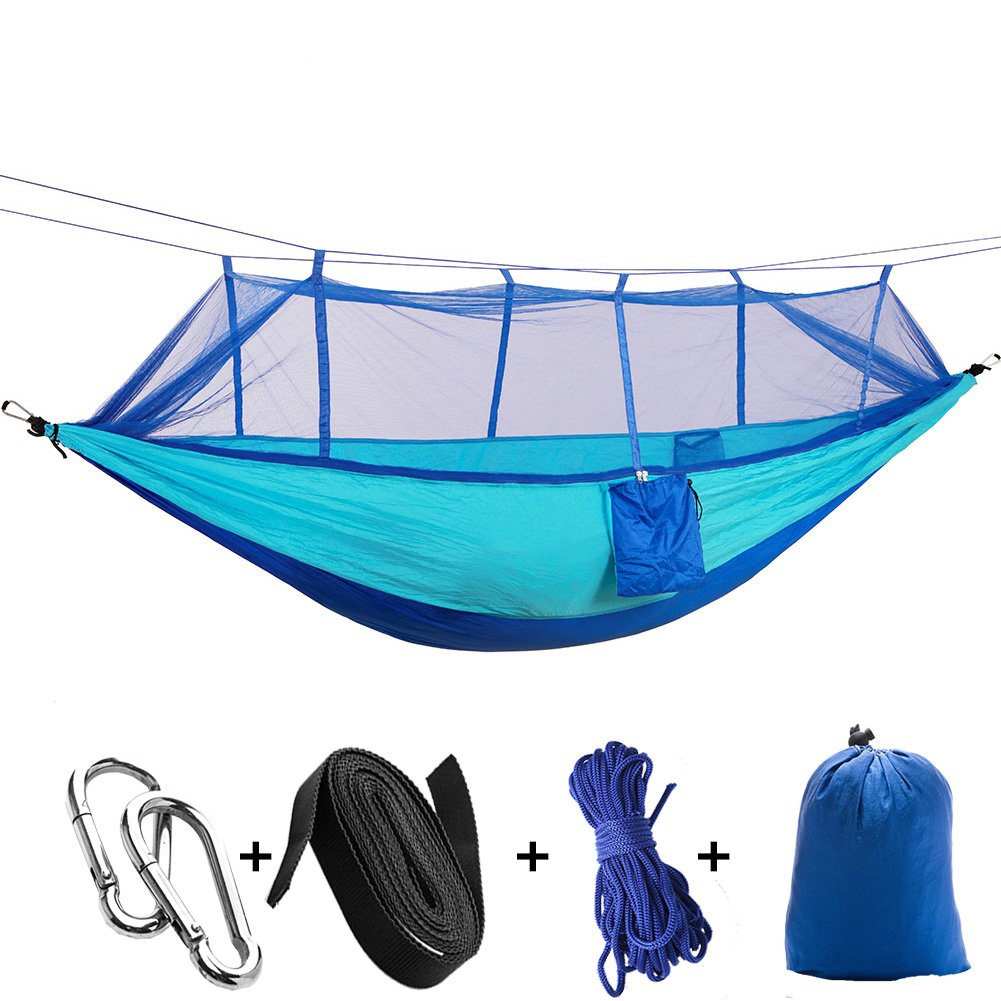 kbxstart Outdoor Parachute Cloth Hammock with Mosquito Net Ultra Light Nylon Double Army Green Camping Aerial Tent (Sky Blue+ Blue)