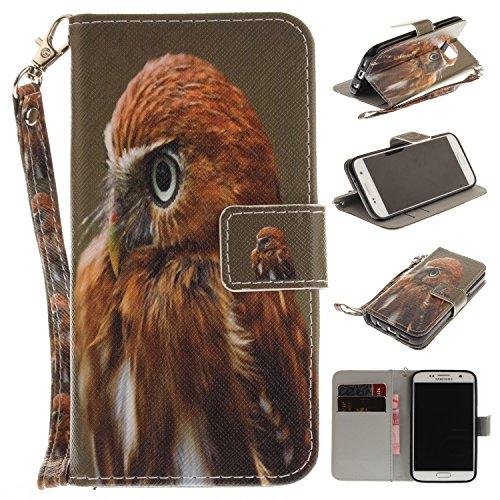 Para Samsung Galaxy S7 funda, (Media cara Cat) caja del teléfono de la PU patrón en pintado ,Función de Soporte Billetera con Tapa para Tarjetas correa de mano soporte para teléfono águila
