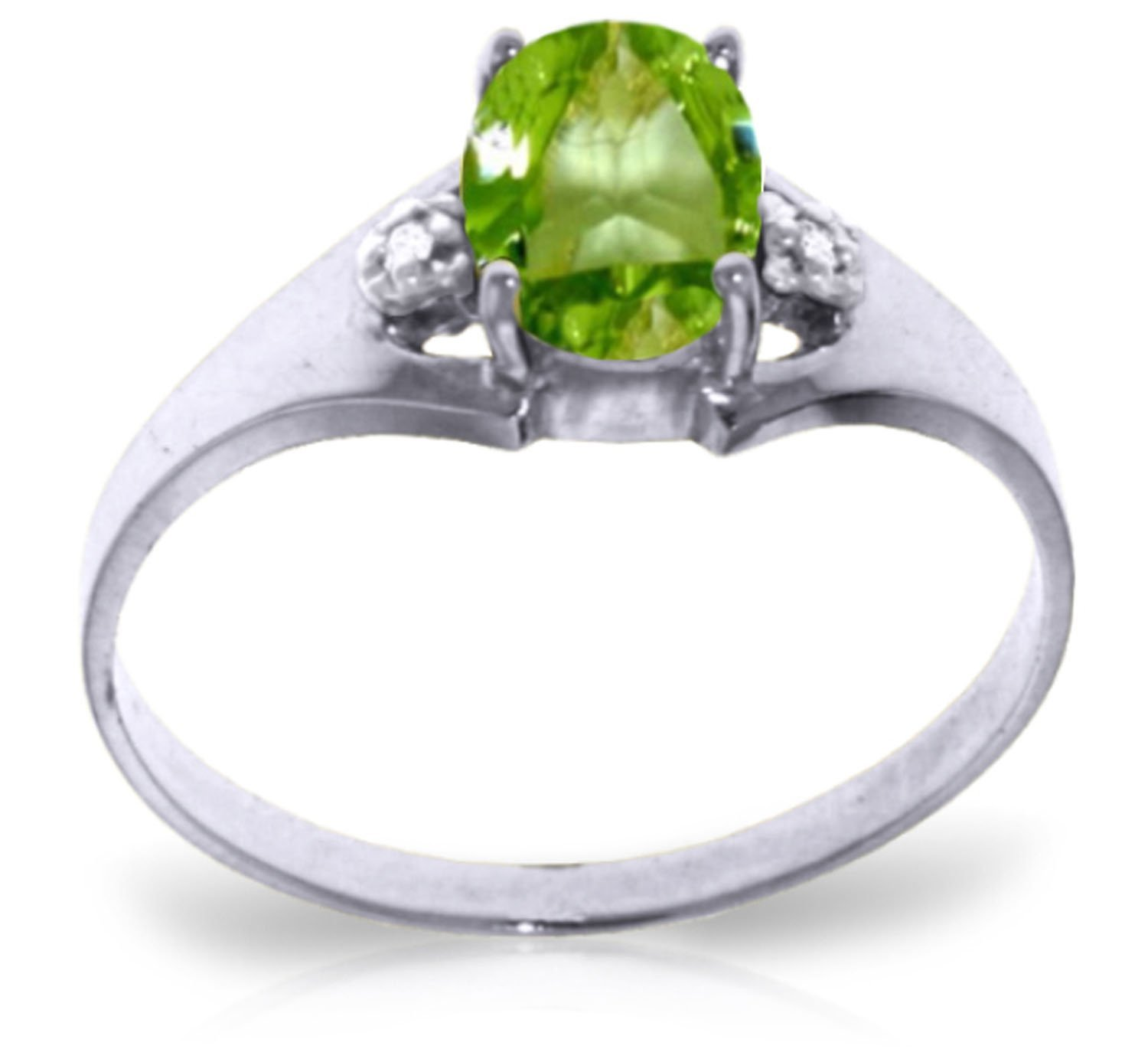 0.76 Carat 14k Solid White Gold Ring with Genuine Diamonds and Natural Oval-shaped Peridot - Size 9