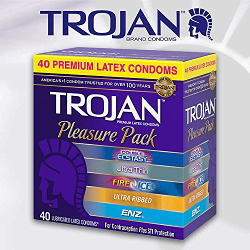 (Trojan Pleasure Pack Premium Lubricated Latex Condoms, 40 Count (Fire & Ice))