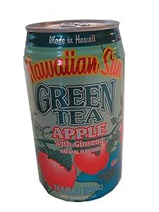 Hawaiian Sun Green Tea Apple with Ginseng, 11.5-Ounce (Pack of 24)