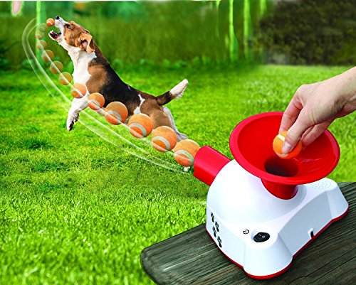 Small Thrower - Etna Gotcha Talking Dog Fetch Toy, An Automatic Ball Thrower/Launcher - Interactive Electronic Fetch Machine with 3 Small Tennis Balls (NEW IMPROVIED)