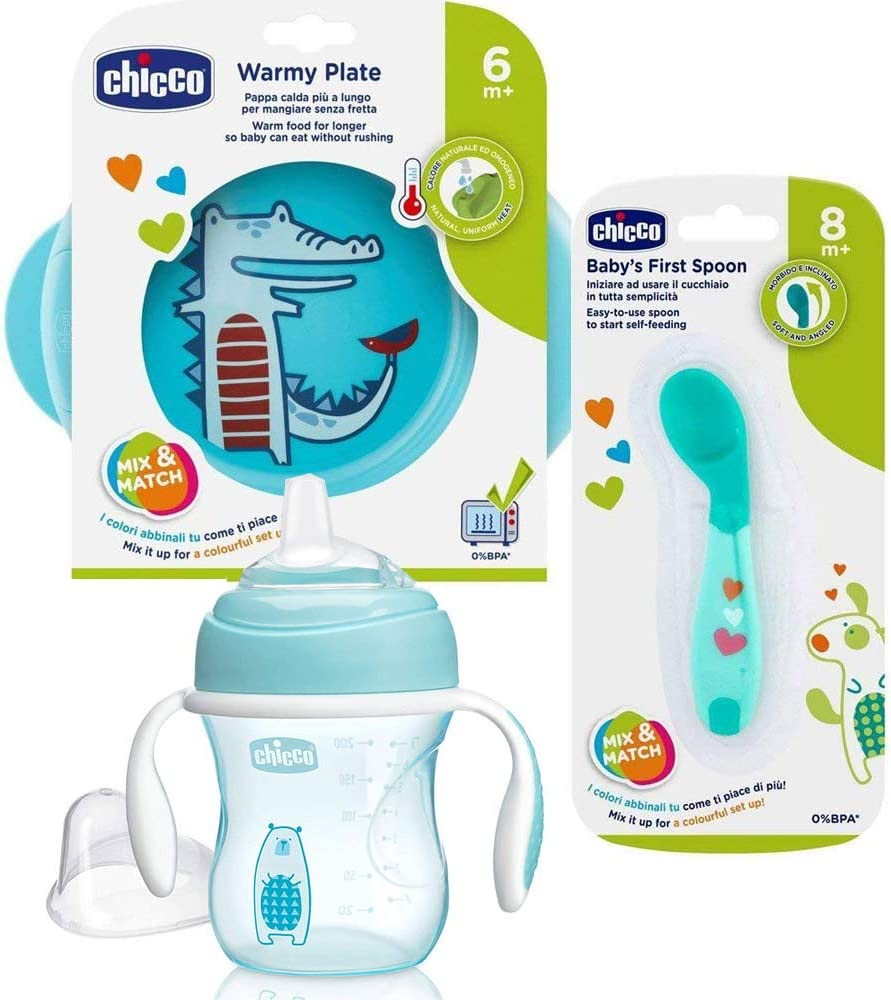 CHICCO beikost Start Juego de 3Set infantil de iniciación Aprendizaje Juego platos térmica, calentadora esslern Cuchara acodado, vaso con Super Soft Silicona Pico 200ml, sin BPA)