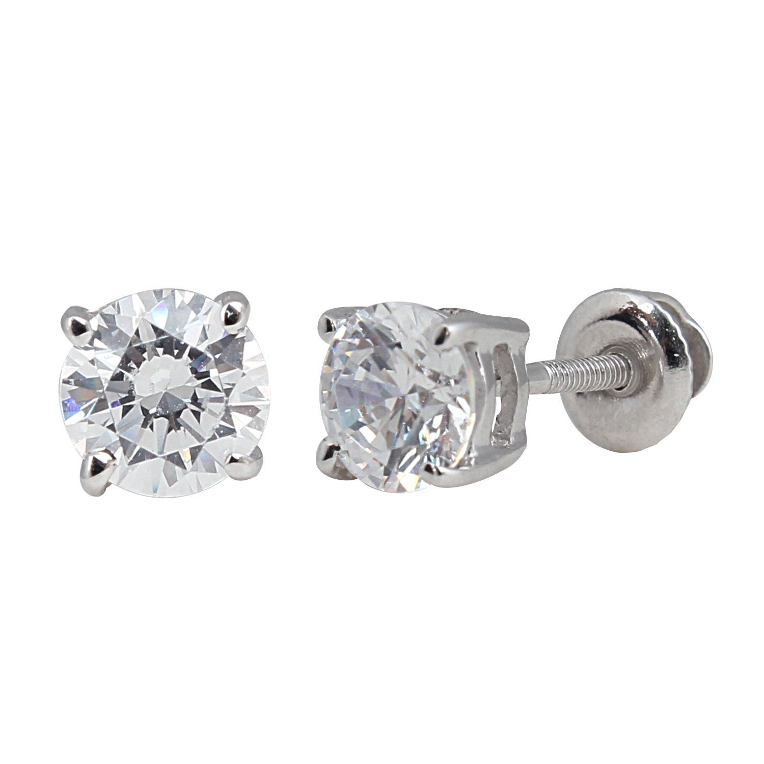 Amazon: 14k White Gold Round Diamond Stud Earrings (1 Cttw): Jewelry