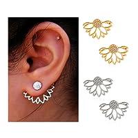 Suyi Mode Hohl Lotus Blume Ohrringe Kristall Einfach Schick Ohrringe Set
