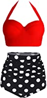 Amourri Womens Retro Vintage Polka Underwire High Waisted Swimsuit Bathing Suits Bikini