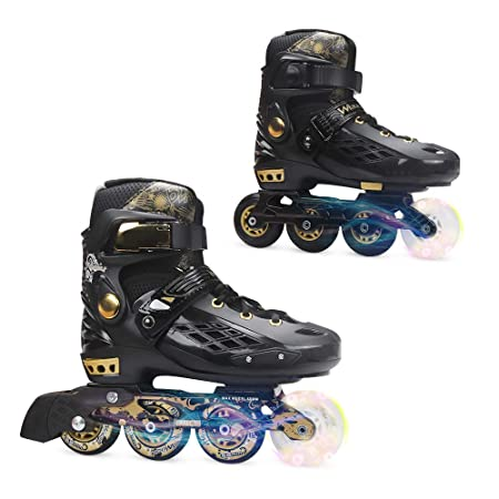 YF YOUFU Adjustable Inline Skates for Boys Girls Kids Adult, Roller Skate Blades with Triple Protection, Front Foot Shield, Hard PU Wheels, Patines with Light-up Wheel on Front for Youth, Men, Women
