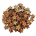 Fityle ボタン 2穴 木製 雪片の形 スノーフレーク ヴィンテージ 18mm 工芸 装飾 約100ピースの商品画像