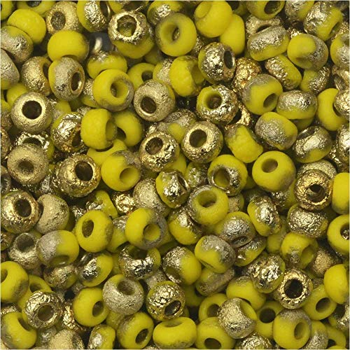 Czech Glass, Bohemian Aged 8/0 Round Seed Beads, 10 Grams, Etched Yellow and Amber
