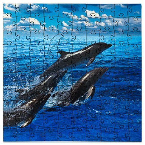 Mosaic Puzzles Wooden Jigsaw Puzzle – Dolphins Jumping – 104 Unique Pieces Challenge Any Puzzle Lover from Ages 8 to 98 – Made in The USA by Zen Art & Design made in Massachusetts