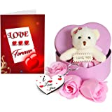 Sky Trends Heart-shaped Box with Teddy and Roses and Wooden Keychain, 15x12x18cm(Multicolour)