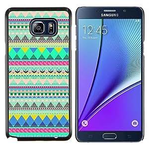 SKCASE Center / Funda Carcasa protectora - Patrón indio verde - Samsung Galaxy Note 5
