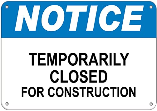 "Amazon.com : Notice Temporarily Closed for Construction Vinyl Sticker Decal  8"" : Office Products"