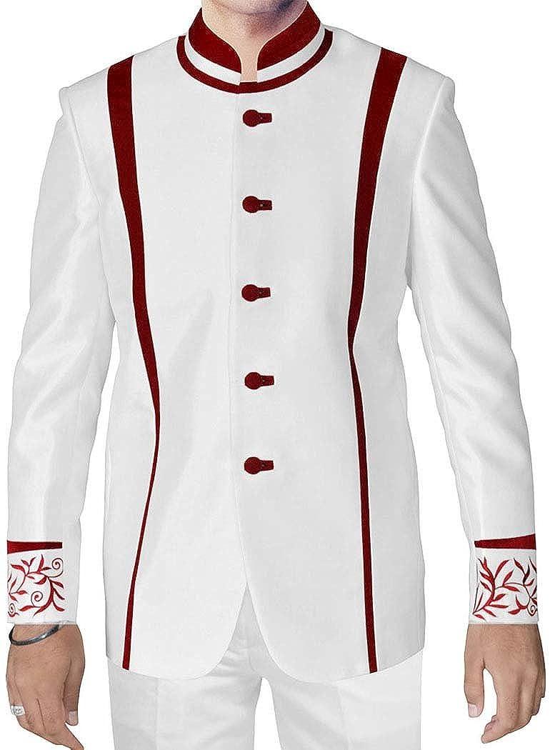 INMONARCH Mens White Nehru Jacket Designer Wedding NJ0137