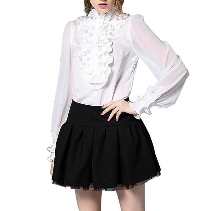 Blusa De Gasa De La Moda Más Tamaño Para Mujer Señora Cuello De La Hoja De