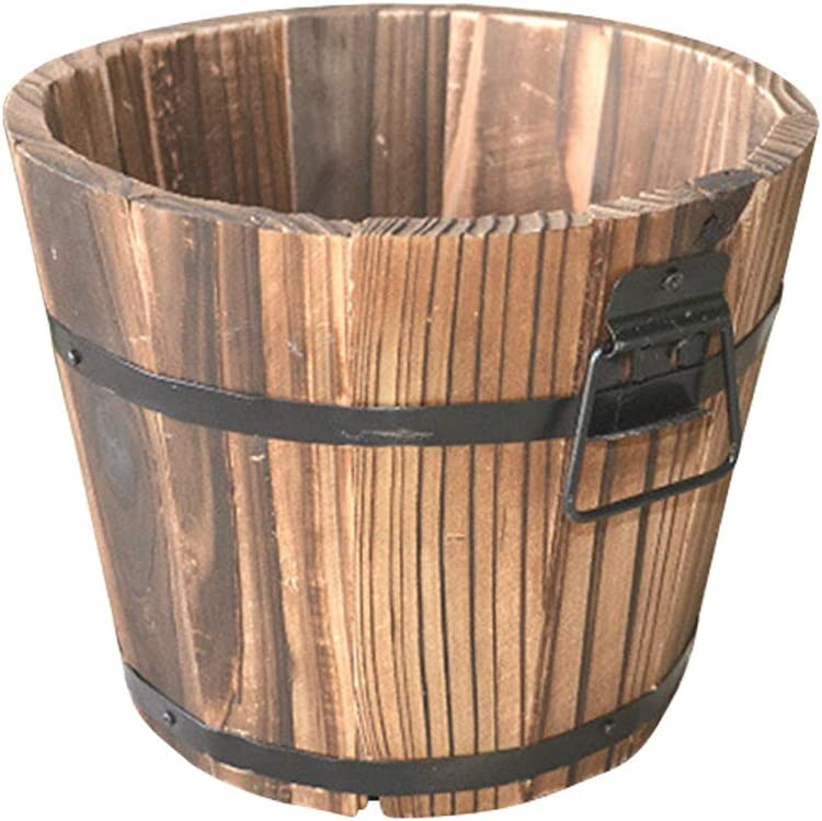 Yardwe Wooden Whiskey Barrel Planter Round Wooden Garden Flower Pot Decor Plant Container Box Brown Large (19 x 14 x 15 cm)