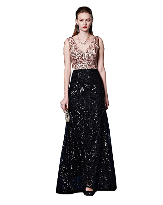 51f6c13479b8 Beauty-Emily Oro satén triángulo lentejuelas doble V-cuello vestido ...