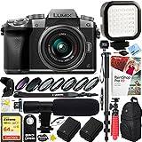 Panasonic LUMIX G7 Interchangeable Lens 4K Ultra HD Silver DSLM Camera with 14-42mm Lens - SanDisk 64GB SDXC Dual Battery & Shotgun Mic Pro Video Bundle