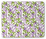 Mauve Mouse Pad by Ambesonne, Spring Tree with Vibrant Blossoms Frangrance Botany Plant Eco Illustration Print, Standard Size Rectangle Non-Slip Rubber Mousepad, Lilac Green